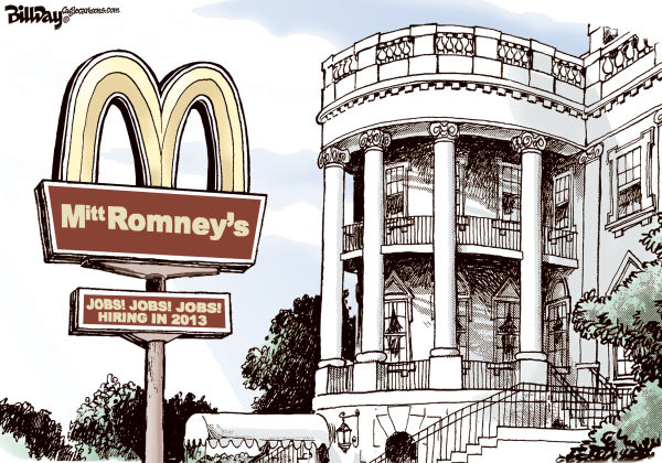 Mitt Romney's  Bill Day,Cagle Cartoons,low paying jobs, Romney, 99-1, 