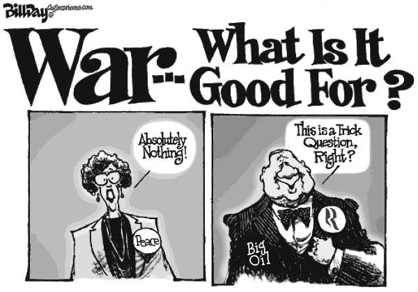War and Oil © Bill Day,Cagle Cartoons,Romney, Big Oil, money, war