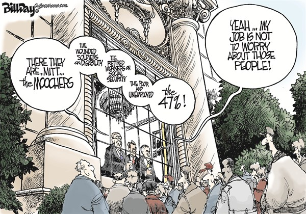 The Unimportant People  Bill Day,Cagle Cartoons,Romney,47,poor,unemployed,disability