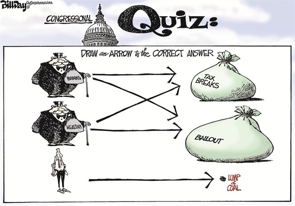GENIUS IQ TEST  Bill Day,Cagle Cartoons,tax breaks,wealthy,banks,fiscal cliff, obama taxes