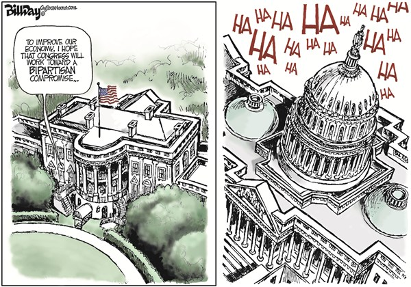 Bill Day - Cagle Cartoons - State of the Congress  COLOR - English - State of the Union, Obama, Congress, White House, economy, jobs