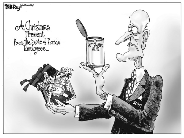 local FL PRESENT © Bill Day,Cagle Cartoons,Rick Scott, urine test, Florida