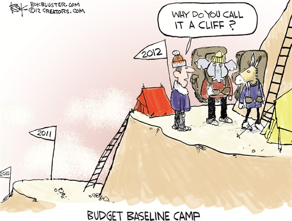 Budget Baseline Camp © Chip Bok,The Akron (Ohio) Beacon Journal,fiscal cliff,budget,tax