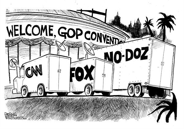 GOP Convention © John Deering,The Arkansas Democrat Gazette,gop,convention,fox,news,cnn,reporters,campaign,election