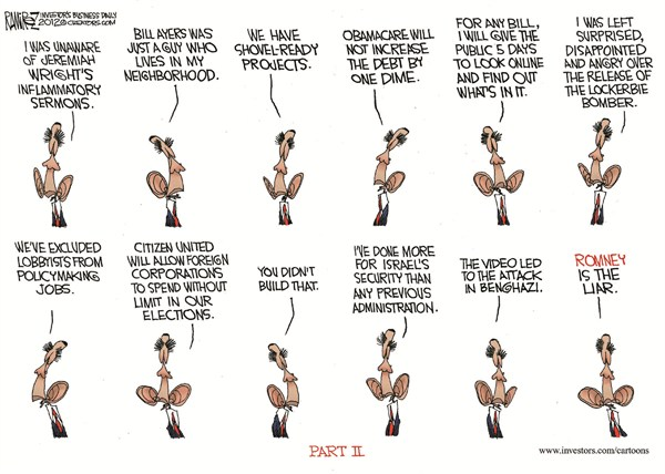 Part II © Michael Ramirez,Investors Business Daily,obama,obama reelection,campaign,election,blame,liar,debate-2
