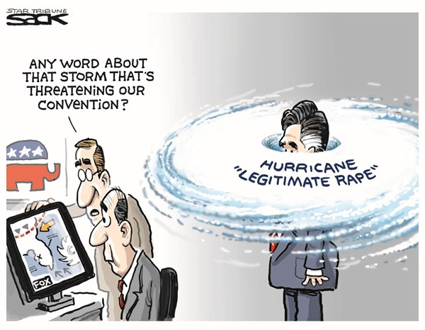 Hurricane © Steve Sack,The Minneapolis Star Tribune,akin,gop,hurricane,convention,republican,legitimate,rape,romney,akin-comments