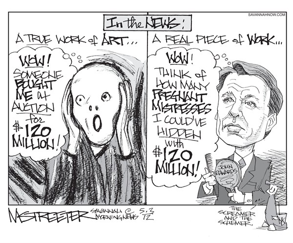 Angst and Vanity  Mark Streeter,The Savannah Morning News,john edwards,trial,mistress,artwork,millions,scream,secret