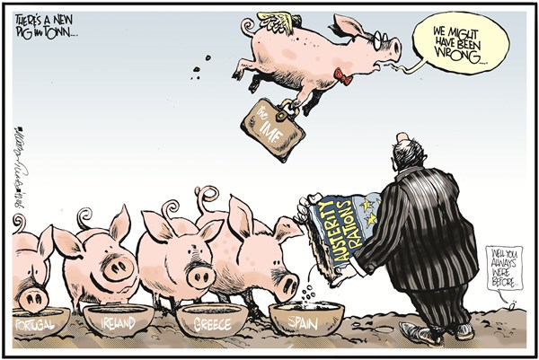 Austerity Rations © Martyn Turner,The Irish Times, Dublin,spain,austerity,rations,pigs,imf,ireland,portugal