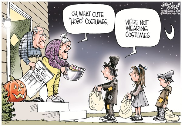 Hobo Costumes © Gary Varvel,The Indianapolis Star News,costumes,kids,hobo,poor,poverty,halloween-economy,trick-or-treat-2012