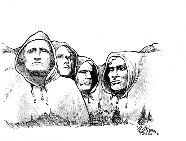 Mt Hoodie © Steve Benson,Arizona Republic,hoodie,kill,shoot,guns,florida,trayvon martin,laws