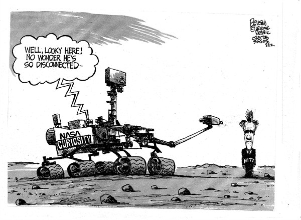 Romney Rover  Steve Benson,Arizona Republic,romney,rover,nasa,disconnected,mars,search,red,planet,campaign,election,curiosity-mars