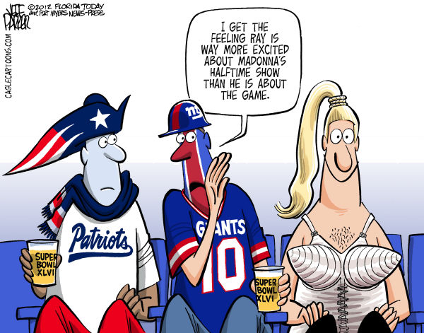Super Bowl Super Fans COLOR &copy; Parker,Florida Today,sports, football, NFL, championship, Super Bowl, New England Patriots, New York Giants, game, Madonna, half, time, show, fans