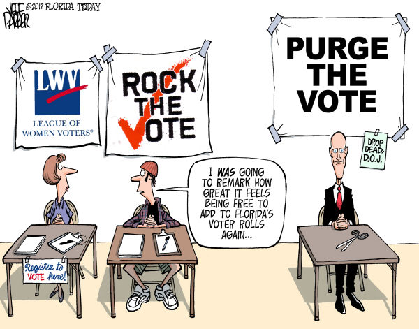Jeff Parker - Florida Today and the Fort Myers News-Press - LOCAL FL Voter Registration Groups and the Purge - English - Governor Rick Scott, election, laws, voter, registration, groups, LWV, League of Women Voters, Rock the Vote, purge, courts, strike, ruling,