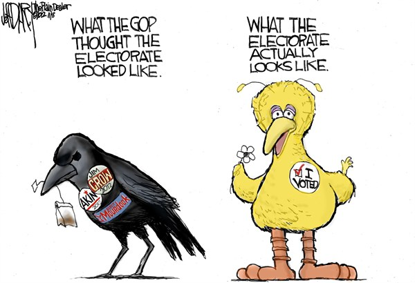Electorate Picture  Jeff Darcy,The Cleveland Plain Dealer,big bird,electorate,gop,mourdock,crow,akin,voted,voters