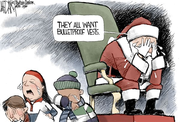 Bulletproof Vests © Jeff Darcy,The Cleveland Plain Dealer,bulletproof,vests,guns,violence,killing,death,kids,santa,present,school,connecticut shooting, Gun Debate, gun debate 2012, santa 2012, school violence