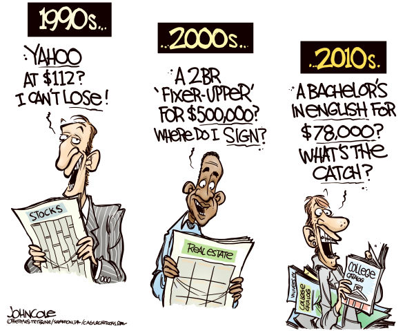 John Cole - The Scranton Times-Tribune - College debt bubble COLOR - English - college, tuition, loans, debt, bubble, non-profit, public, profit, university, wall street, mortgages, investment