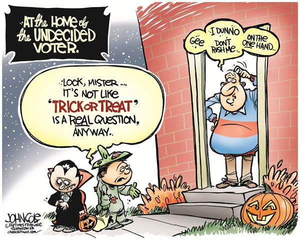 Undecided voter halloween © John Cole,The Scranton Times-Tribune,2012 election,romney,obama,undecided voter,gop,democrats,halloween, trick or treat 2012,political halloween, undecided voters