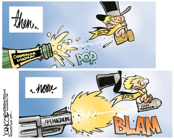 New Year magnums © John Cole,The Scranton Times-Tribune,NRA,GUNS,NEWTOWN,TUSCON,AURORA,SHOOTINGS,GUN CONTROL,NEW YEAR,2013,GUN VIOLENCE,new year 2013