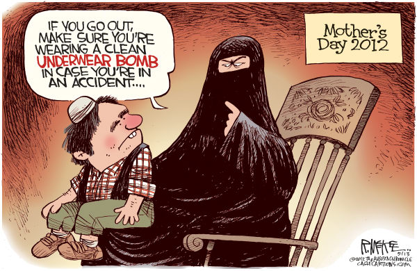 Clean Underwear Bomber © Rick McKee,The Augusta Chronicle,Mothers Day, underwear, suicide, bomber, terrorist, radical Islam