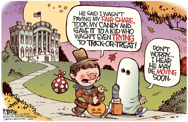 Obama Trick Or Treat © Rick McKee,The Augusta Chronicle,Barack,Obama,Trick or Treat,fair share,wealth redistribution,tax the rich,taxes,obama reelection,Halloween, political halloween, trick or treat 2012