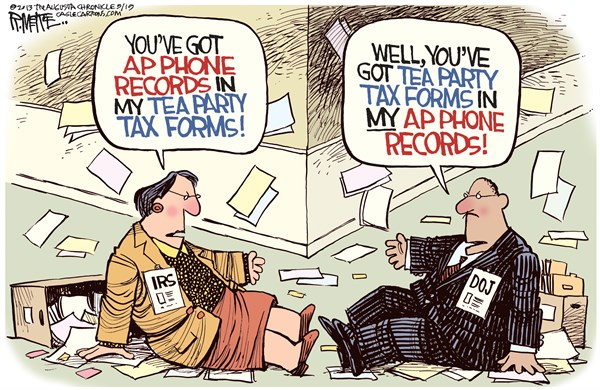 Obama Scandals © Rick McKee,The Augusta Chronicle,Obama, scandals, Benghazi, IRS, AP phone records, Tea Party, tax forms