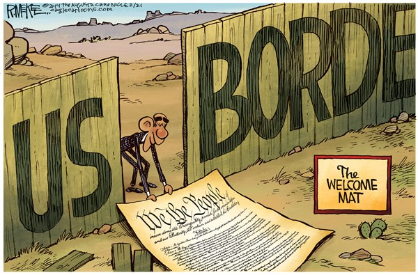 Obama Welcome Mat © Rick McKee,The Augusta Chronicle,Immigration, Constitution, Executive order, border