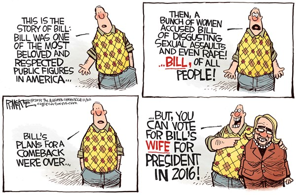 Story of Bill © Rick McKee,The Augusta Chronicle,Bill Cosby, Bill Clinton, Hillary, 2016