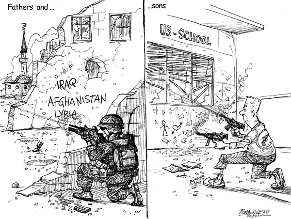 Amercan Tragedy © Petar Pismestrovic,Kleine Zeitung, Austria,Gun,War,Military,People,School,Tragedy,USA,Politic,World,Afghanistan,Iraq,Lybia,connecticut shooting, Gun Debate, gun debate 2012, school violence