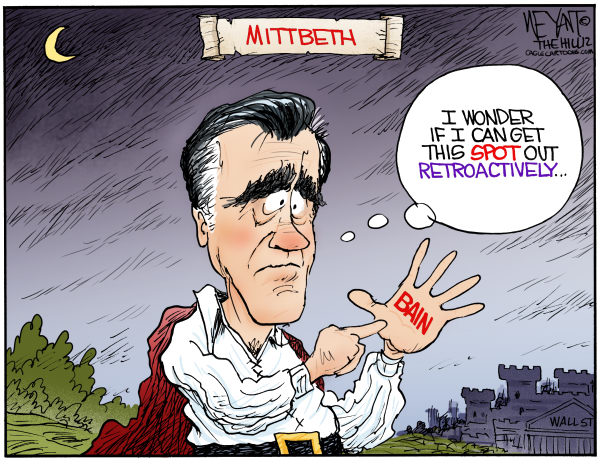 Christopher Weyant - The Hill - Mittbeth COLOR - English - Mitt Romney, Macbeth, William Shakespeare, Bain Capital, ties, denial, retire, retroactively, retroactive, Barack Obama, GOP, Republican, nominee, Wall Street, 1, rich, outsourcing, Olympics,