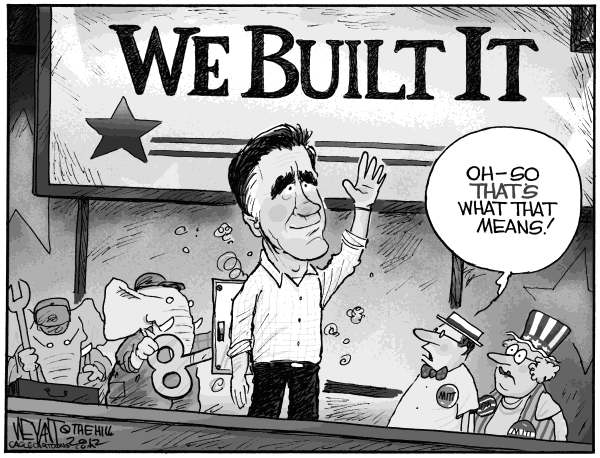 Christopher Weyant - The Hill - We Built the Romneytron - English - Romney, We Built It, GOP, Republican, convention, robot, stiff, character, platform, Barack Obama, nomination, slogan