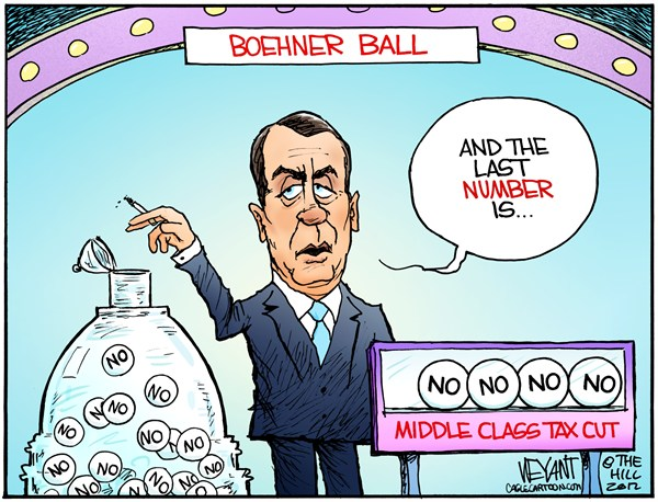 Boehner Ball  Christopher Weyant,The Hill,Power Ball,Boehner,Speaker of the House,middle class tax cut,no,GOP,Congress,Republican,Obama,Tea Party,budget,sequestration,Bush tax cuts,lottery,,fiscal cliff