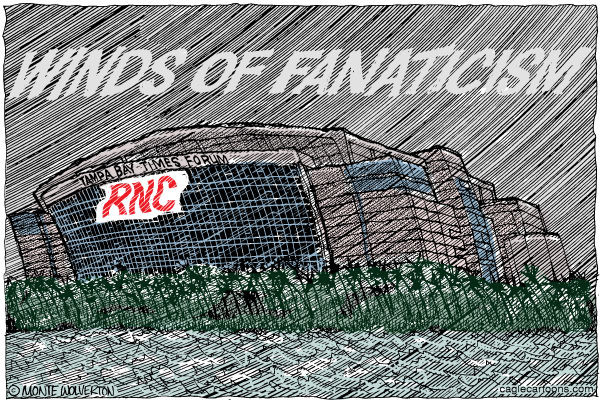 Winds of Fanaticism © Wolverton,Cagle Cartoons,GOP, GOP Convention, RNC, Republican, Tampa, Isaac, Election, Presidential