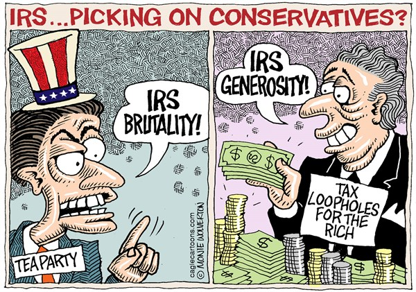 IRS Targets Conservatives  Wolverton,Cagle Cartoons,IRS, Tea Party, Conservative, GOP, Republican, targeting