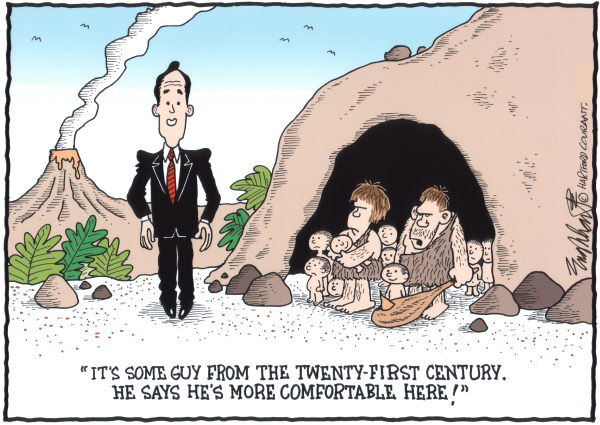 Bob Englehart - The Hartford Courant - Rick Santorum COLOR - English - rick santorum, cave people, gop candidate, 2012 election, campaign