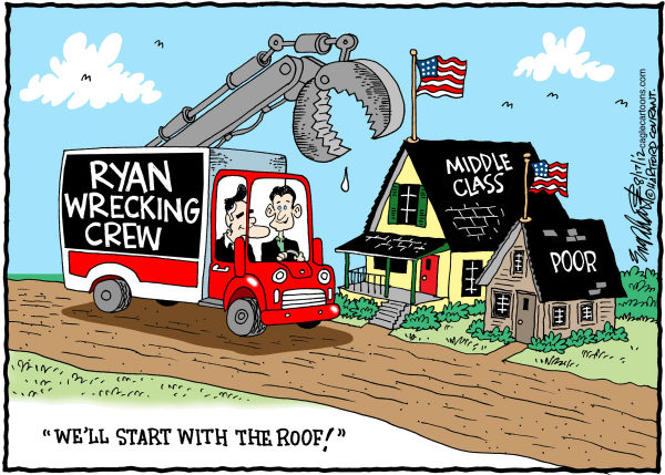 Paul Ryan © Bob Englehart,The Hartford Courant,Paul Ryan,Mitt Romney,poor,middle class,romney ryan