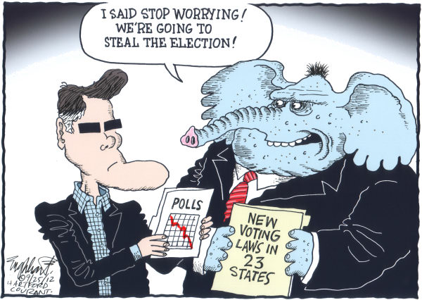 GOP Stealing Election  Bob Englehart,The Hartford Courant,Mitt Romney, GOP, Elephant, polls, voter id, photo id, disenfranchisement, vote