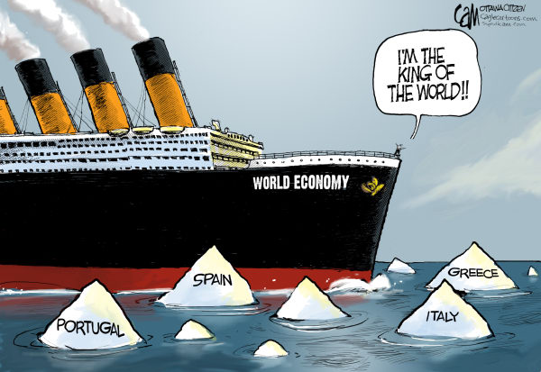 Europe's Titanic ego problem - May 10, 2010, at 06.27 PM (Cartoonist-Cam Cardow, copyright 2010 Cagle Cartoons; courtesy - theweek.com.). Click for larger image.