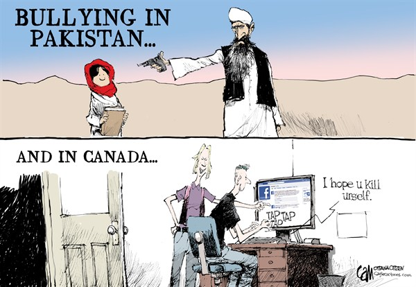 CANADA Bullies © Cardow,The Ottawa Citizen,CANADA,bullying,online,facebook,social,media,teenagers,Amanda,Todd,suicide,Pakistan,Malala,Yousafzai,Taliban,malala yousafzai