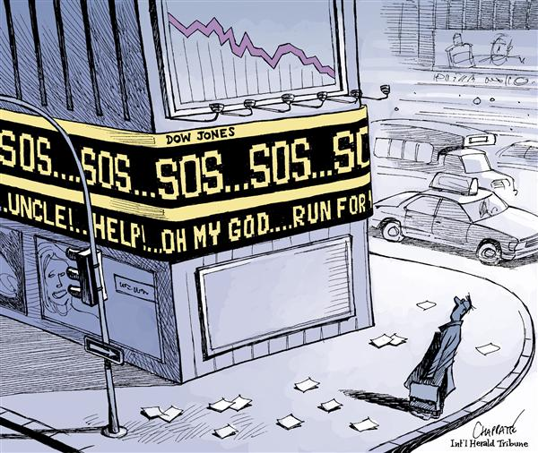 Patrick Chappatte - The International Herald Tribune - Stock market panic - English - Economy,USA,Finance,Subprime,Crisis,Stock Market,Wall Street,Crash,Bank,Speculation,Housing,Fear