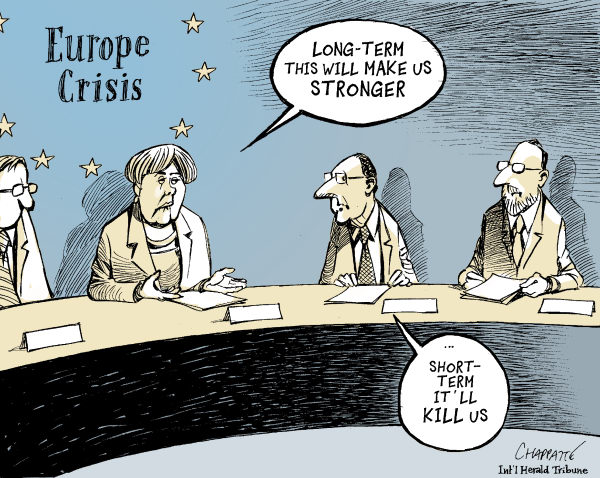 Patrick Chappatte - The International Herald Tribune - EUROPEAN SUMMIT - English - 		European Union,Summit,France,Germany,Holland,Merkel,Rajoy,Euro,Crisis,Economy