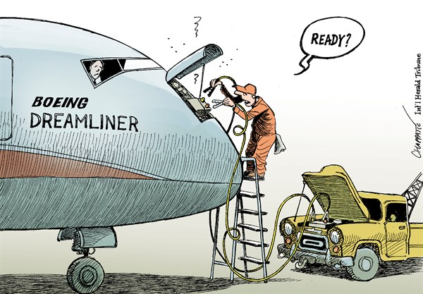 Boeing Dreamliner Problems  Patrick Chappatte,The International Herald Tribune,Transports,Aviation,Boeing,Dreamliner,USA,Cars,Economy
