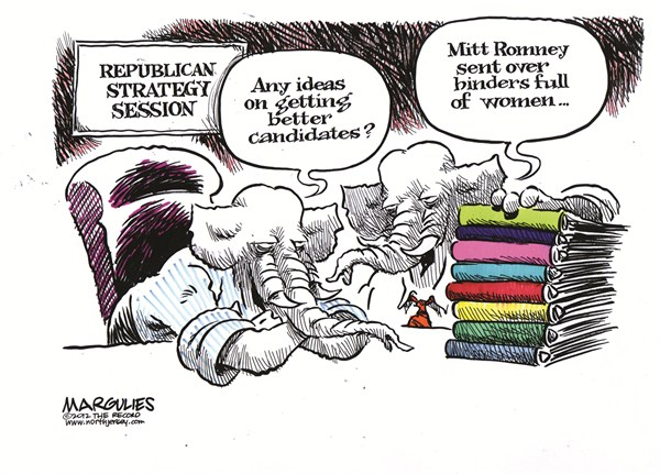 Republican strategy session © Jimmy Margulies,The Record of Hackensack, NJ,Republican losses in 2012 election, Romney, 2012 presidential vote, Republican party, Republican war on women, Abortion, Planned Parenthood, Obamacare contraceptive coverage, gop loss,binders full of women