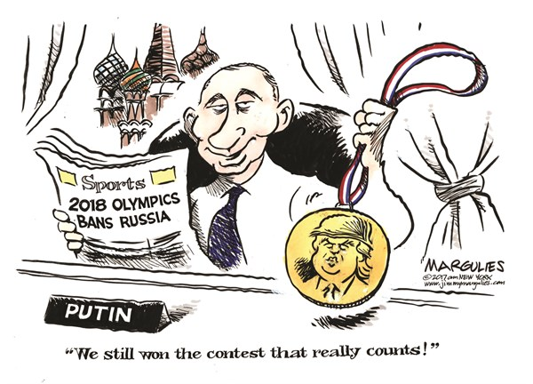 2018 Olympics Ban Russia, Jimmy Margulies,Politicalcartoons.com,2018 Olympics, Russian Olympics Ban, Russia, Russian doping, Trump, Trump and Russia, Putin, 2016 elections, Russia Probe