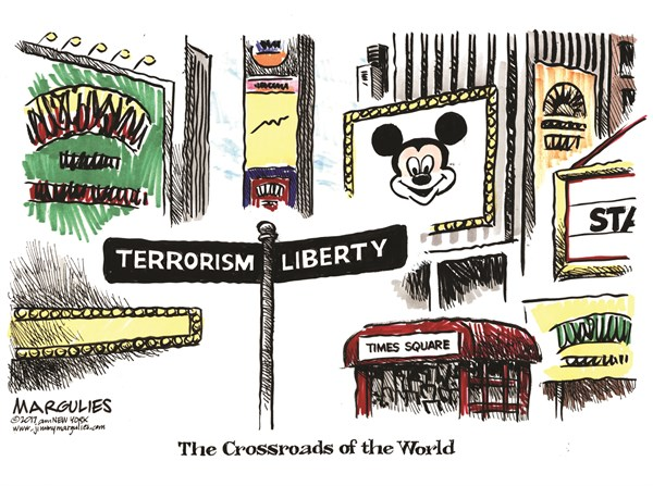 NYC terrorism, Jimmy Margulies,Politicalcartoons.com,NYC terrorism, NYC Subway terrorism, terrorism, ISIS, Islamic terrorism, Islamic extremists