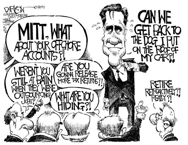 John Darkow - Columbia Daily Tribune, Missouri - Whats Mitt Hiding - English - Mitt, Romney, Hiding, Dog, Car, Roof, Retire, Retroactive, Tax, Returns, Offshore Accounts, Bain, Outsourcing, Jobs