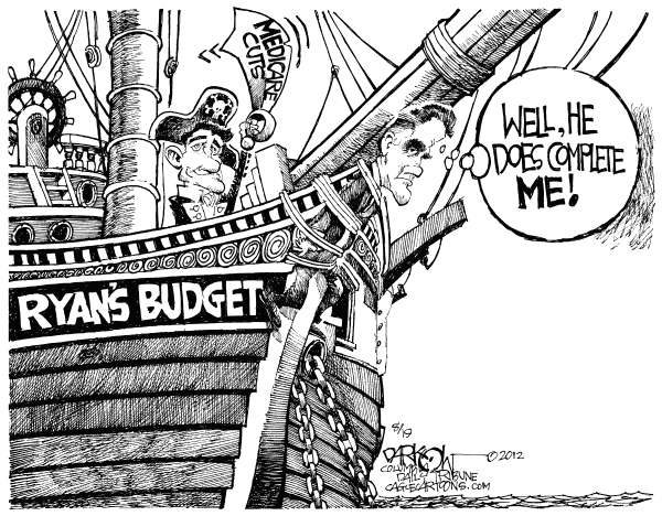 Romney Figurehead © John Darkow,Columbia Daily Tribune, Missouri,Mitt Romney, Ryan, Budget, Sail, Complete, Figure Head, Pirate, Ship, Ocean, Medicare, Cuts