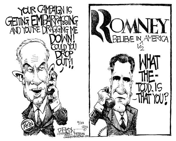 Akin Romney  John Darkow,Columbia Daily Tribune, Missouri,campaign, embarrassing, Akin, Romney, Todd, Mitt, Believe, America, half, drop out