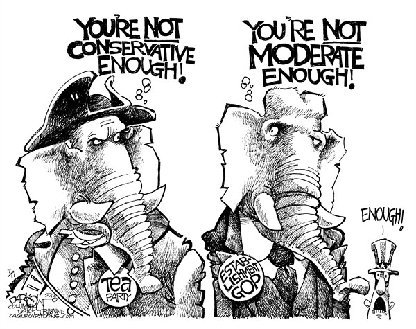 GOP Blame Game © John Darkow,Columbia Daily Tribune, Missouri,GOP, Blame, Game, Dems, Conservative, Moderate, Tea Party, Establishment,