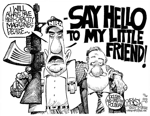 NRA's Little Friend © John Darkow,Columbia Daily Tribune, Missouri,NRA,Lobbyist,gun control,right to carry,gun laws,second amendment,crime,gun debate 2012, Living With Guns, nra, NRA 2012