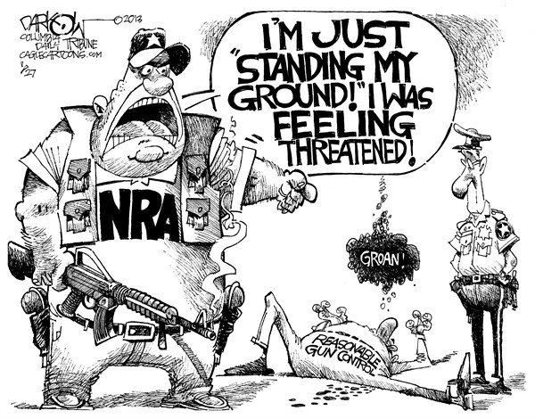 NRA Stands Its Ground  John Darkow,Columbia Daily Tribune, Missouri,Stand,Ground,NRA,Rifle,Guns,Control,Police,Government,Threat,Political,Criminal,Citizen, nra 2012,assault weapons, life with guns,nra